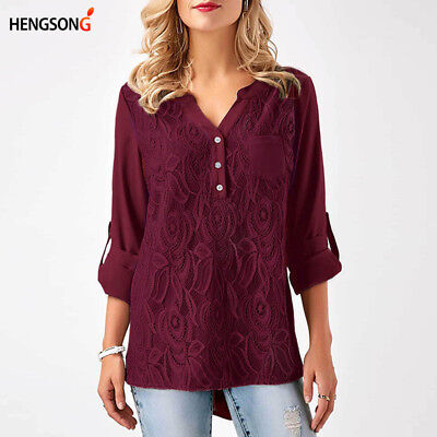 Women's Stylish Solid Color Flower Chiffon V Neck Tops Shirts Casual Blouse N7