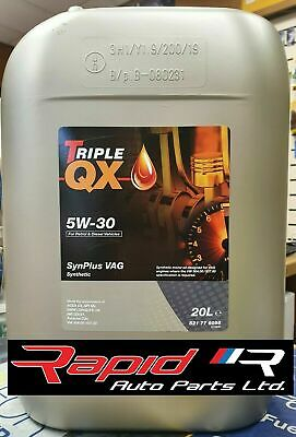 Triple QX SynPlus 5w30 Fully Synthetic Car Engine Oil 5L - VAG C3 20 Litres
