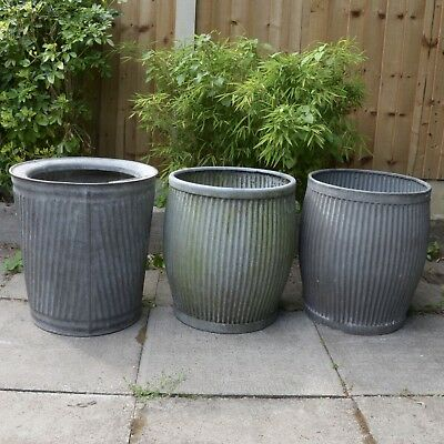 X3 Vintage Dolly Tub Galvanised old garden reclaimed trough pot bath planter tin