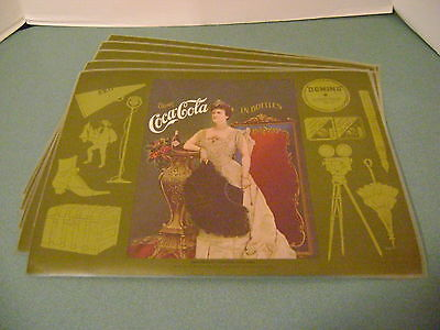 """Coca Cola Set of 5 Placemats 16"""" X 12"""" With Lillian Russell Advertising ca.1904"""