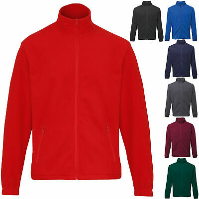 Mens Plain Outdoor Corporate Workwear Zip Up Fleece Jacket XS - 3XL
