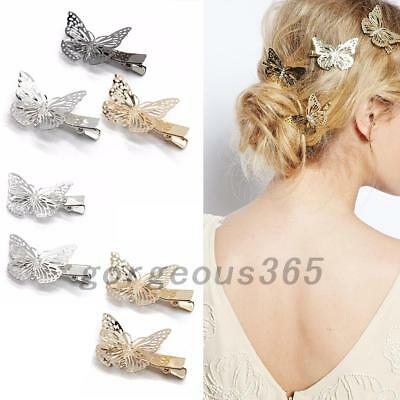 Hollow Gold Black Butterfly Hair Clips Hairpins Wedding Barrette Accessories AU