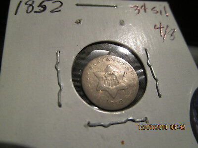 1852 3 Cent Silver G/VG