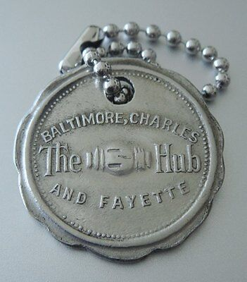 Vintage Charge Plate Coin Tag: THE HUB (HECHT CO); BALTIMORE Famous Dept Store