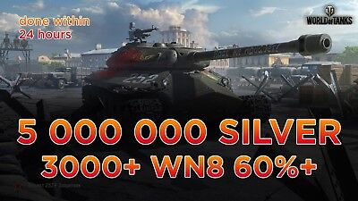 World Of Tanks Silver 5 million / Leveling /  5 000 000 million silver