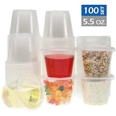 Freshware Plastic Portion Cups with Lids [5.5-Ounce, 100 Sets], BPA Free