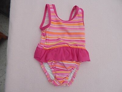 Lovely Adams Baby Girls Pink Striped Swimming Costume Age 9 - 12 Months