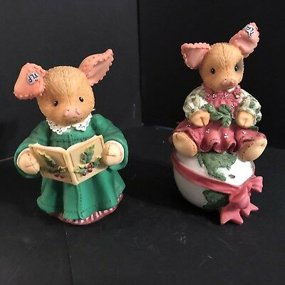 2 Enesco TLP This Little Piggy Figurine Holiday