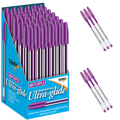 10 & 20 Tiger 1mm Point Medium Purple  Ultra-Glide Ballpoint Pens Smooth Ink