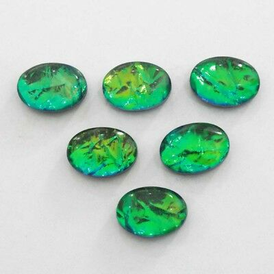 """Excellent """"australian Triplet Opal"""" Radiant Oval Treated Gemstone Cab 8 Pc"""