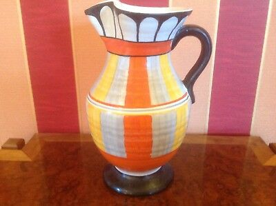 Vintage Art Deco jazz age geometric large water lemonade jug Stamped 72