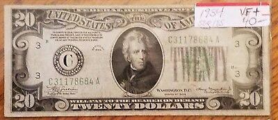 1934 $20 Federal Reserve Note  * Vf * Very Fine