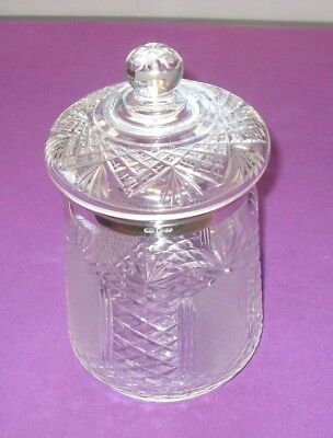 Art Deco 1924 Hallmarked Sterling Silver Mount Cut Glass Biscuit Barrel Antique