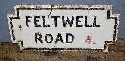 """Large Reclaimed Cast Iron Victorian Antique Street Sign """" Feltwell Road """"rare #2"""