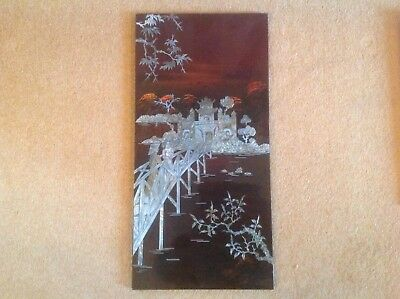 Vintage Chinese lacquered panel with mother pearls inlay