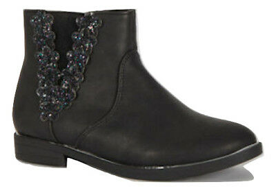 Girls/Infant Chelsea Boots Ankle Floral Shimmer Glitter Metal Trim New Rrp £20
