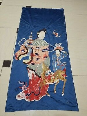 Antique Chinese Hand Embroidery Silk Wall Hanging Figurative Panel 176X79cm
