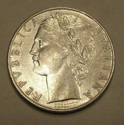 1956 Italy 100 Lire Coin Bust and Roman with Tree Great Condition