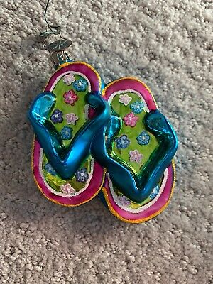 "Christopher Radko Blue & Pink Flip-Flop Ornament - 3"" x 3"""