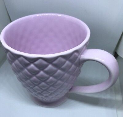 STARBUCKS 2006 Pink-Lavender Diamond Quilted Footed Coffee Mug MINT