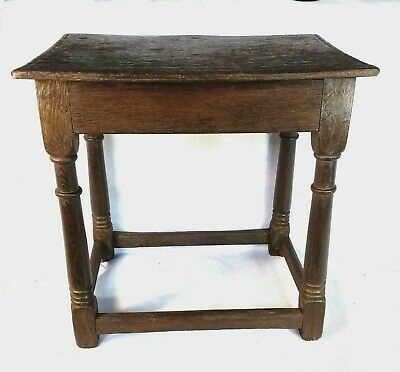 Fine Original Late 17th Century Oak joint Stool c1700