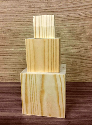 3 Wooden Cubes Free Standing Blocks 3 Tier Upto 20 Sets Multilisting *look*