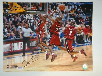 3a79e20fc4b DWYANE WADE PSA DNA CERTIFIED SIGNED 11x14 PHOTOGRAPH MIAMI HEAT AUTOGRAPHED .