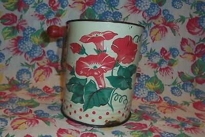 VINTAGE Red & Cream Floral TIN METAL Morning Glories RETRO KITCHEN FLOUR SIFTER