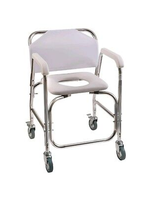 DMI Shower, Transport, Commode Chair with Wheels and Padded Toilet Seat: White
