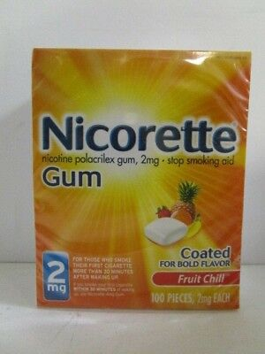 NICORETTE NICOTINE GUM 2 mg EACH FRUIT CHILL 100 PIECES EXP 2/19+ SEALED NT 3932