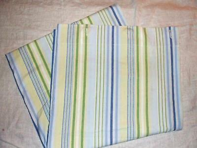 Pottery Barn Kids Fabric Shower Curtain Blue Green White Yellow Stripe