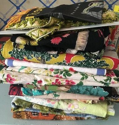 Lot Of Vintage Fabric Barkcloth Linen
