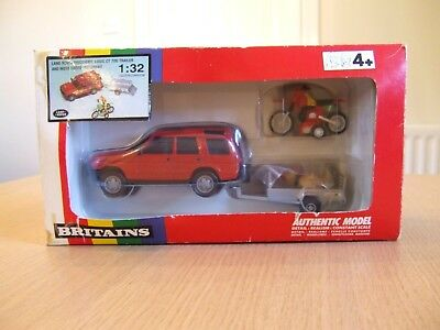 Britains farm Land Rover Discovery, with Logic trailer & moto cross bike