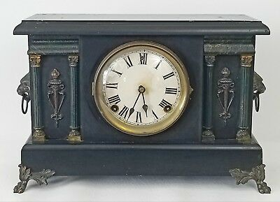 Antique Sessions Mantle Shelf Clock Parts Repair No. 639 Cathedral Gong Lions NR