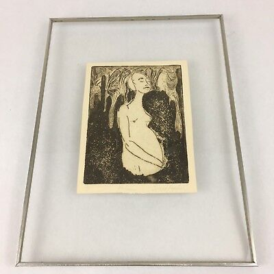 MCM Signed a/p Artist Print Graphic Woman Nude Abstract Kulicke Lucite frame