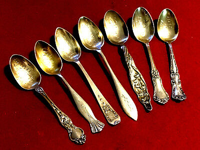 Lot of 7 Sterling Engraved Bowl Souvenir Spoons