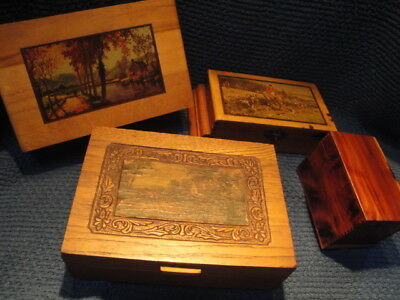 Lot of 4 Vintage wooden jewelry boxes Mid-Century or older