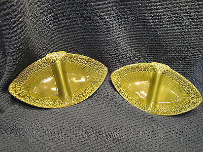 2Vintage MADDUX of CALIFORNIA Pottery 1966 numbered 3151 dish plate bowl relish