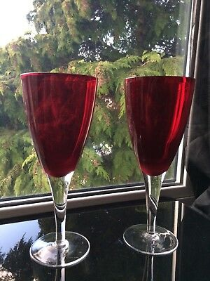 Vintage Tall Glass Champagne Flute Set of 2 Cocktail Red Glasses & Clear Stem