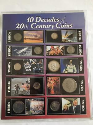 10 Decades of 20th Century Coins 1900's - 1990's in Hard Plastic Picture Frame