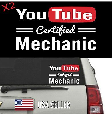Youtube Certified MECHANIC Sticker - Decal For Shed Car or Toolbox 2 pack