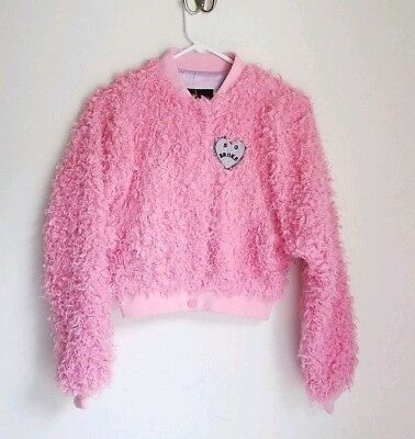 Rare Lazy Oaf So Broke Faux Fur Cozzy Baby Pink Bomber Jacket Coat Size S