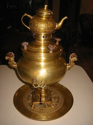 Vintage 4 Pc Samovar Tray 2Pc.Pot Small Tea Pot Russian or Oriental? See Details