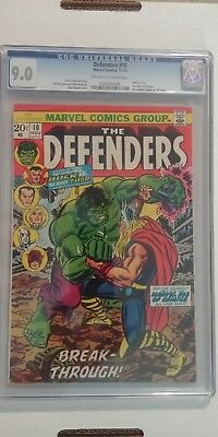 Defenders 10 CGC 9.0 OW to White Pages Classic Hulk vs Thor Cover Romita art