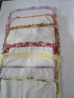 Vtg.lot 7 Cotton Hankies With Crocheted Edges
