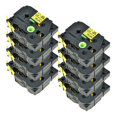 8PK For Brother PT-E300 PT-E550W HSe-641 Heat Shrink Tube Black on Yellow 17.7mm
