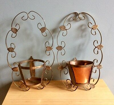 vintage wrought metal hanging pot holder, art nouveau french style, x 2