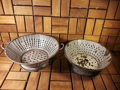 Vintage Antique - Pair of Rustic Primitive Old Tin Kitchen Strainers! GUC!