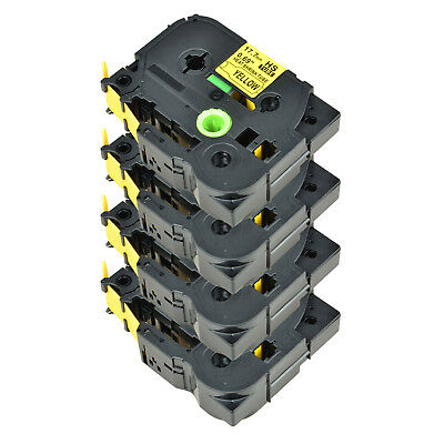 4PK For Brother PT-E300 PT-E550W HSe-641 Heat Shrink Tube Black on Yellow 17.7mm