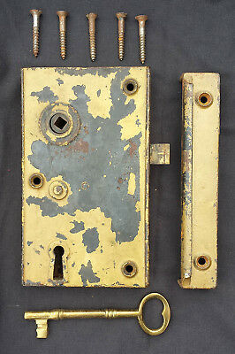 "HUGE 7"" Antique Vintage Door Rim Surface Mount Cast Iron Lock Lockset Latch +Key"